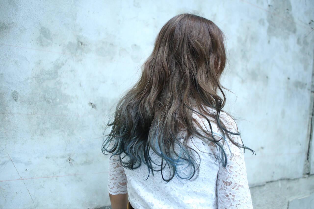 グラデーションカラー ブルーアッシュ 透明感 外国人風カラーヘアスタイルや髪型の写真・画像