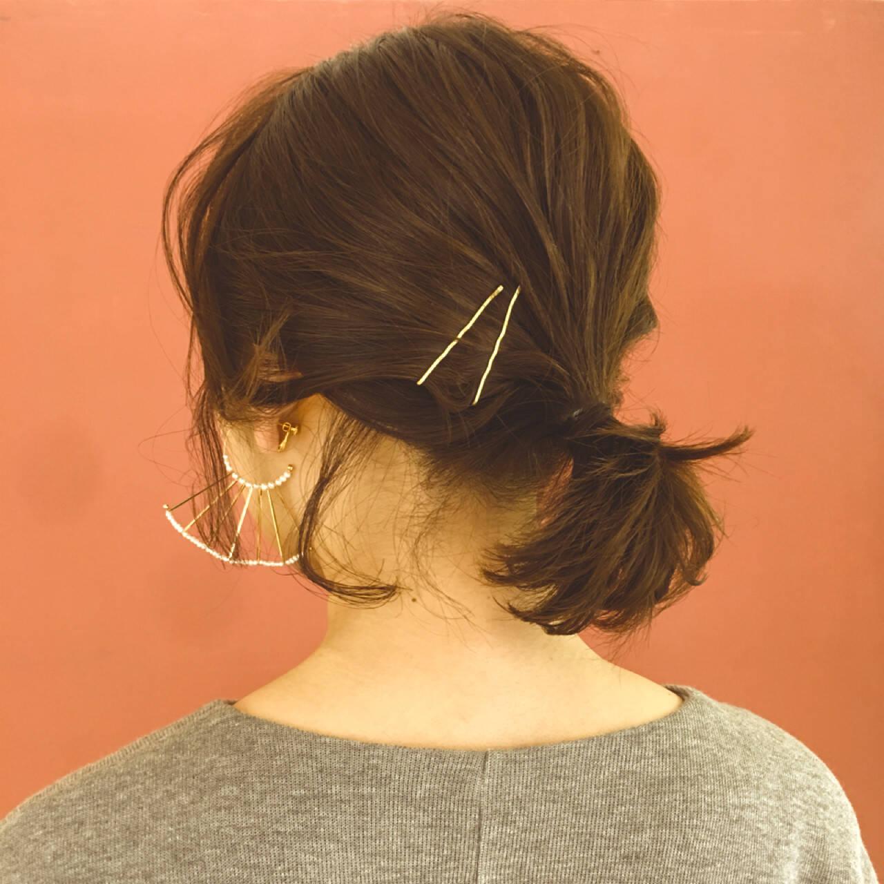 ヘアアレンジ 簡単ヘアアレンジ ボブ ナチュラルヘアスタイルや髪型の写真・画像