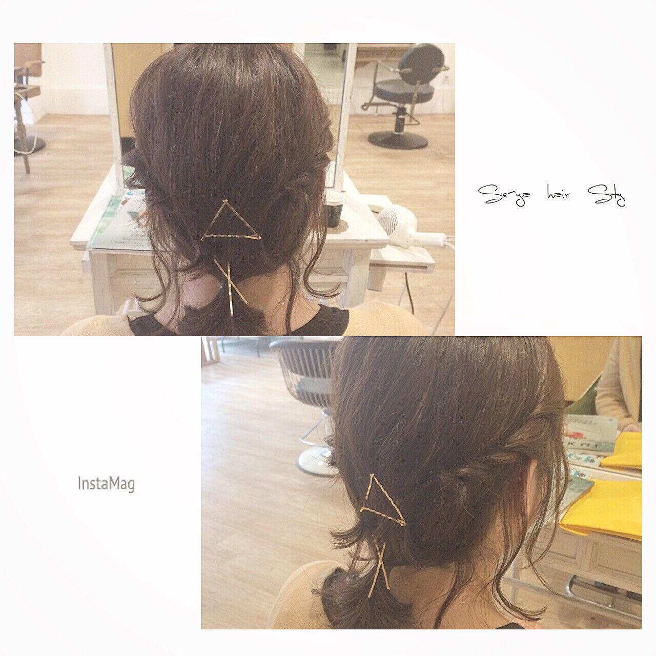 簡単ヘアアレンジ アッシュ ボブ ハイライトヘアスタイルや髪型の写真・画像