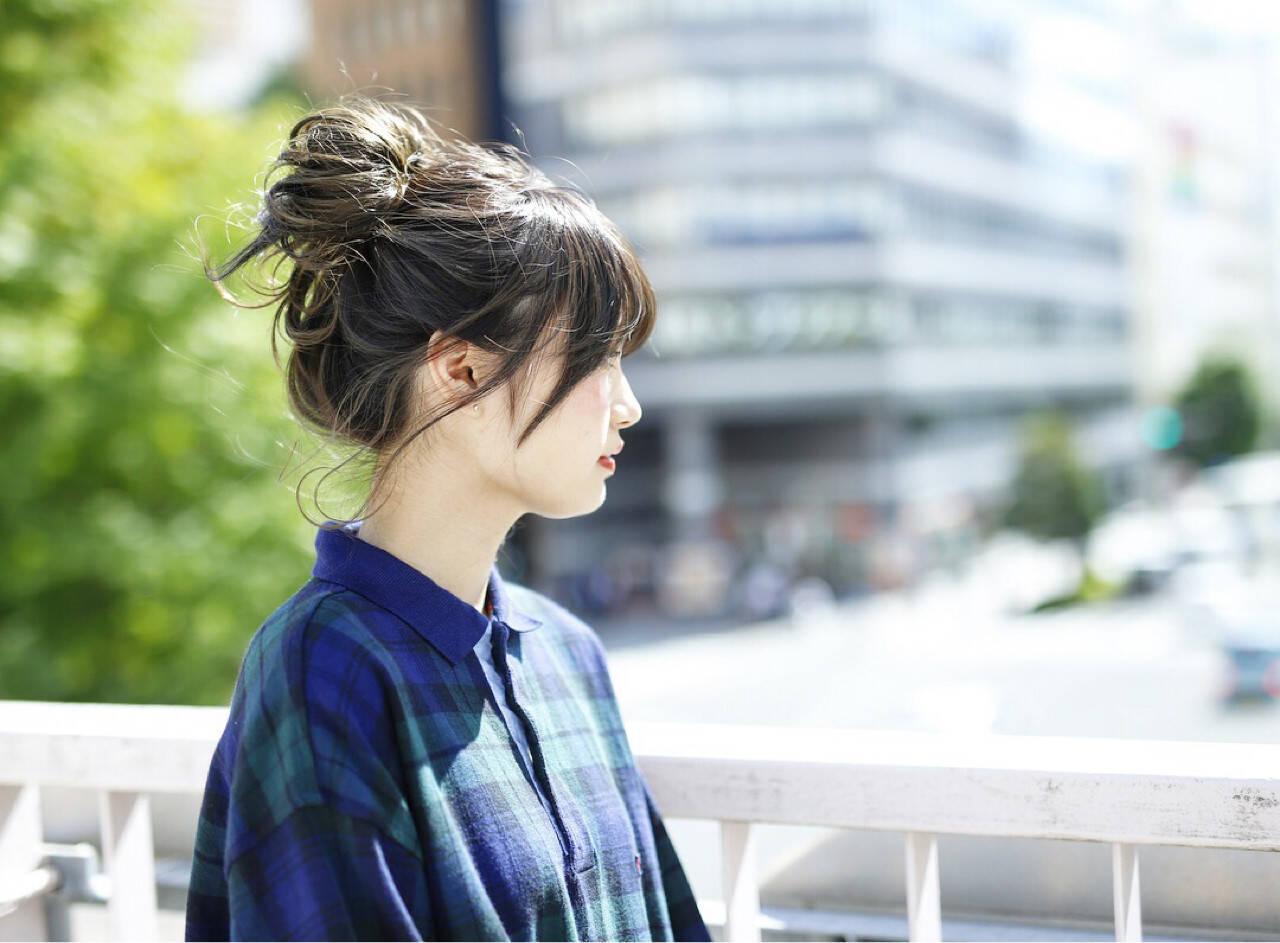 お団子 簡単 ミディアム ヘアアレンジヘアスタイルや髪型の写真・画像
