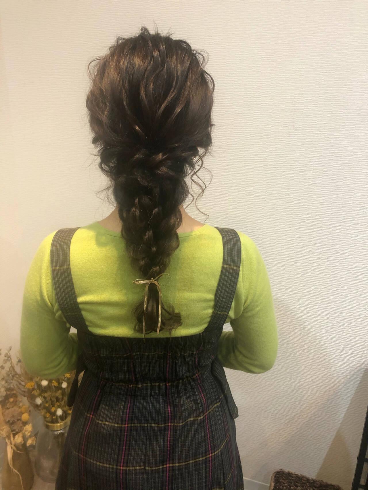 編みおろしヘア ヘアセット ヘアアレンジ 編みおろしヘアスタイルや髪型の写真・画像