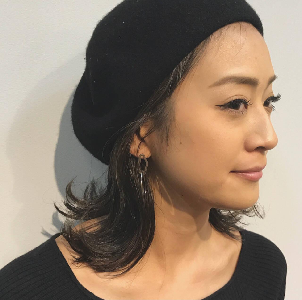 ボブ 女子力 ベレー帽 ウェットヘアヘアスタイルや髪型の写真・画像