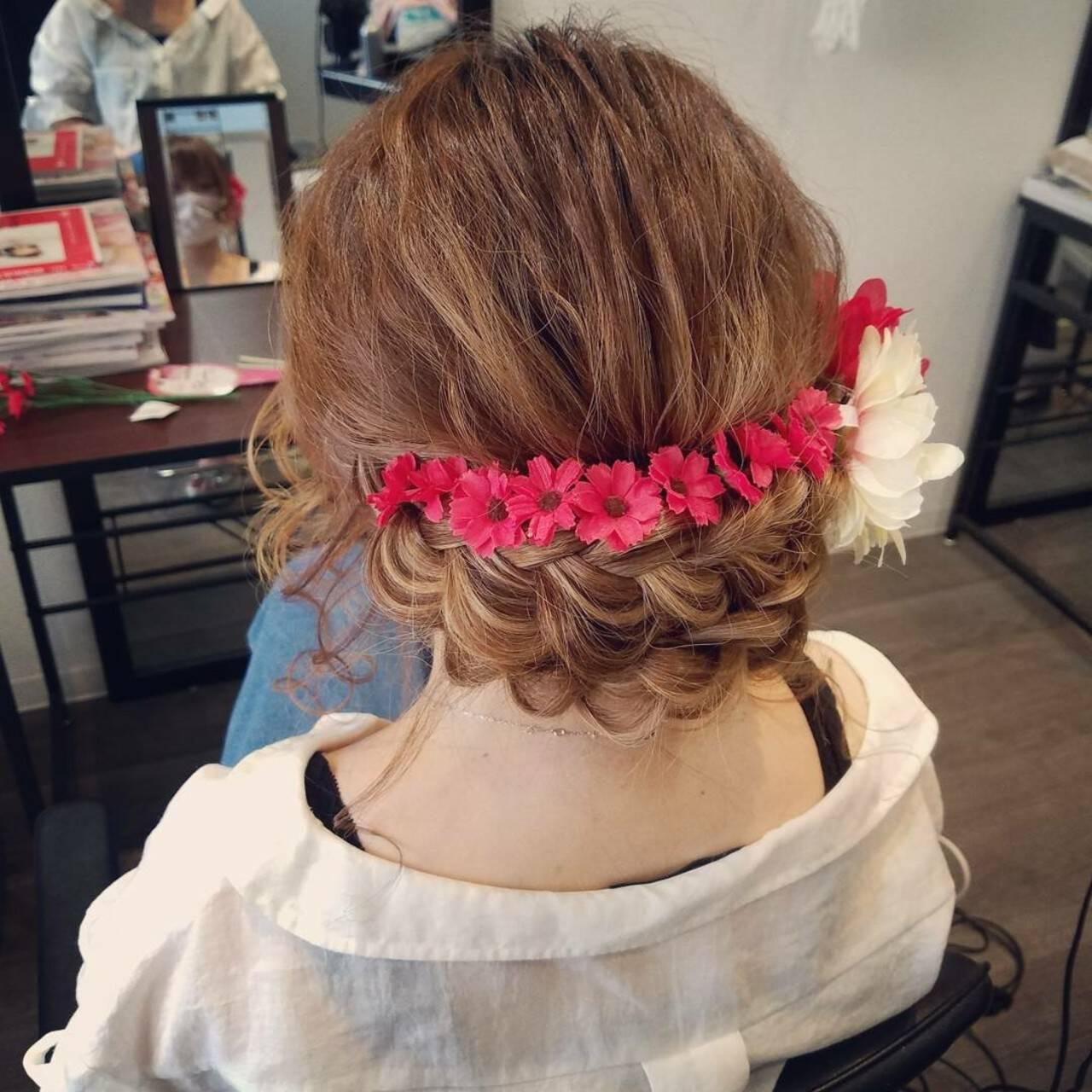 ガーリー ヘアアレンジ 和装 編み込みヘアスタイルや髪型の写真・画像
