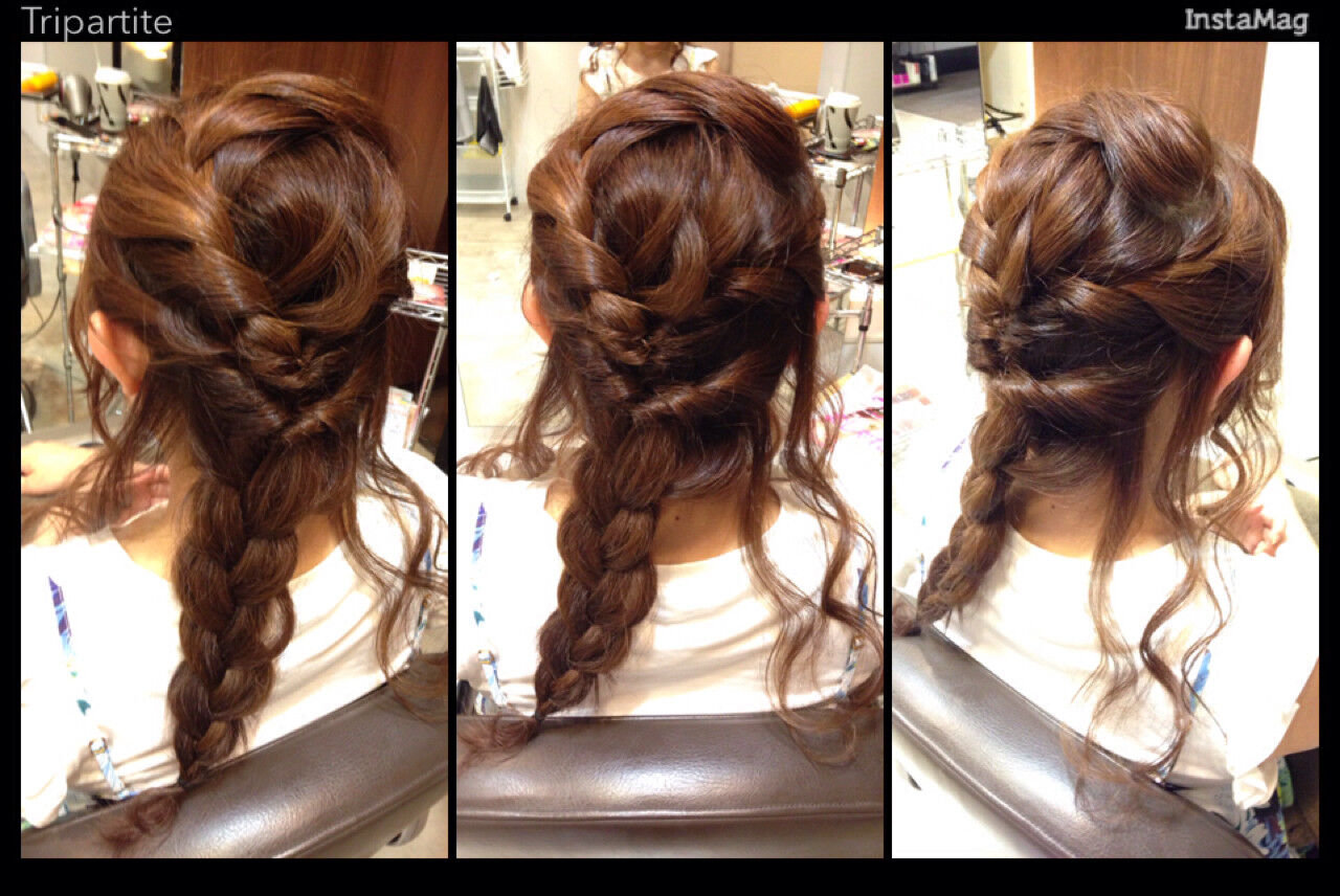 ゆるふわ フェミニン セミロング 編み込みヘアスタイルや髪型の写真・画像