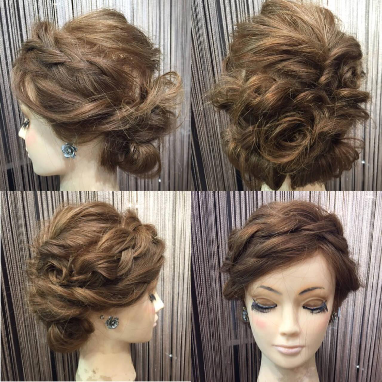 アップスタイル 振袖 編み込み くるりんぱヘアスタイルや髪型の写真・画像