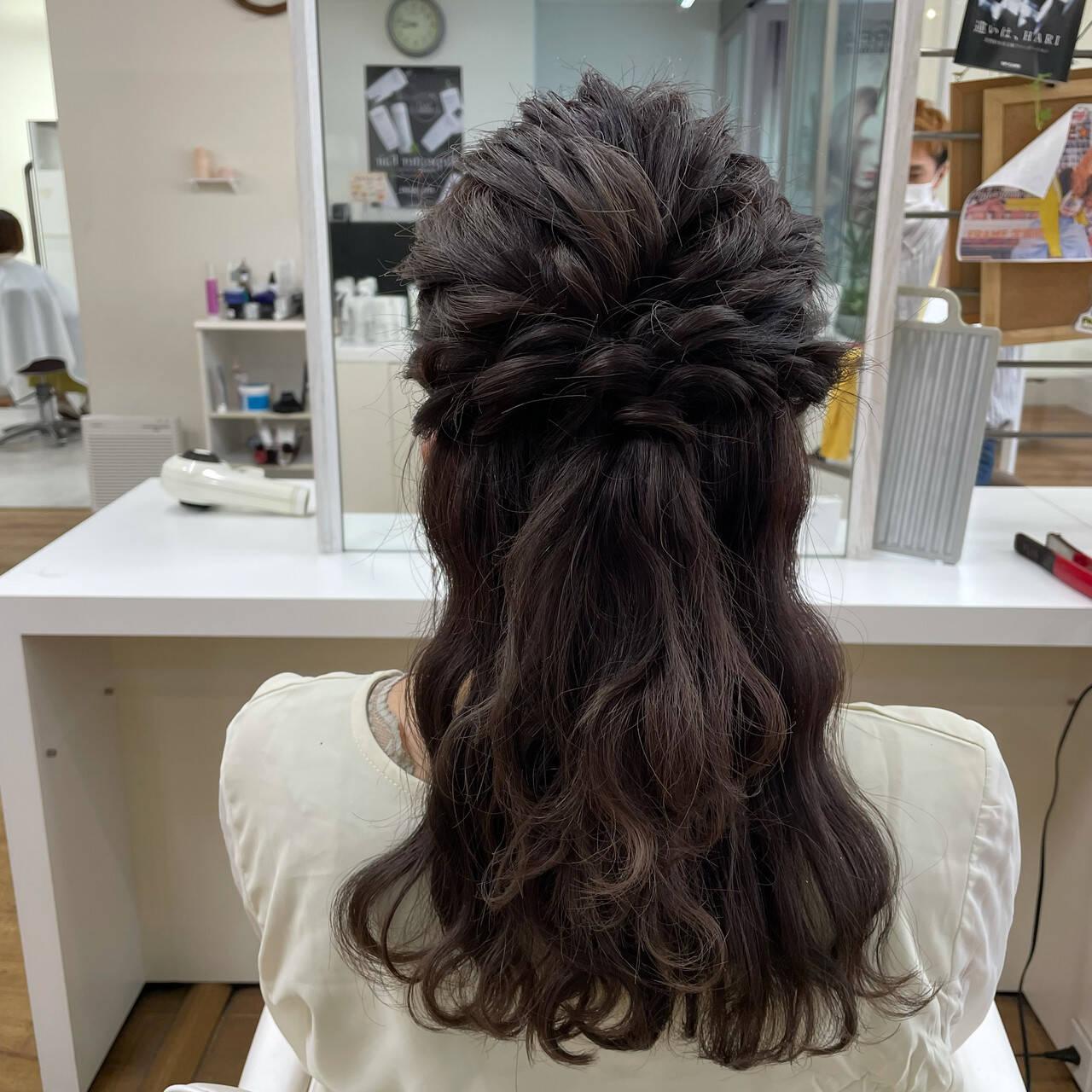 結婚式アレンジ ヘアアレンジ 簡単ヘアアレンジ ハーフアップヘアスタイルや髪型の写真・画像
