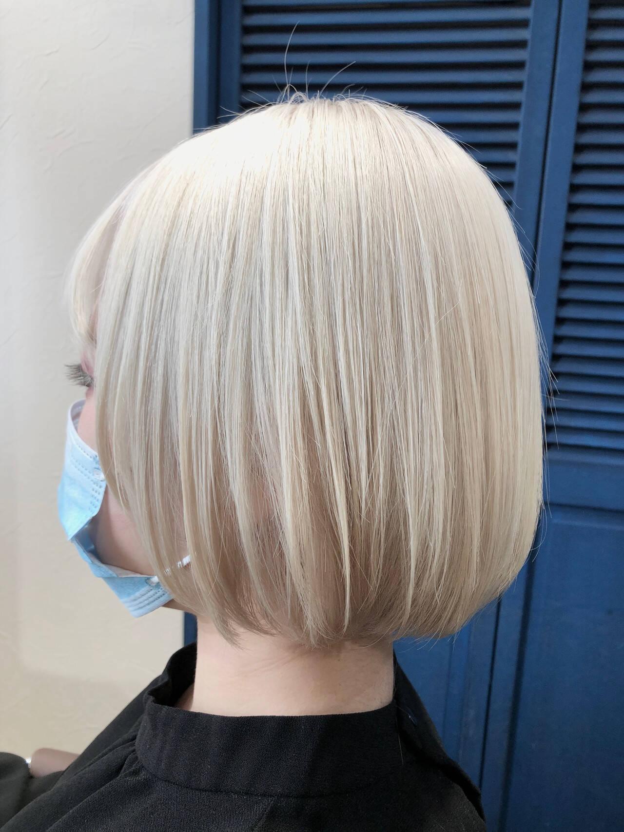 ブリーチオンカラー ホワイトブリーチ ストリート ボブヘアスタイルや髪型の写真・画像