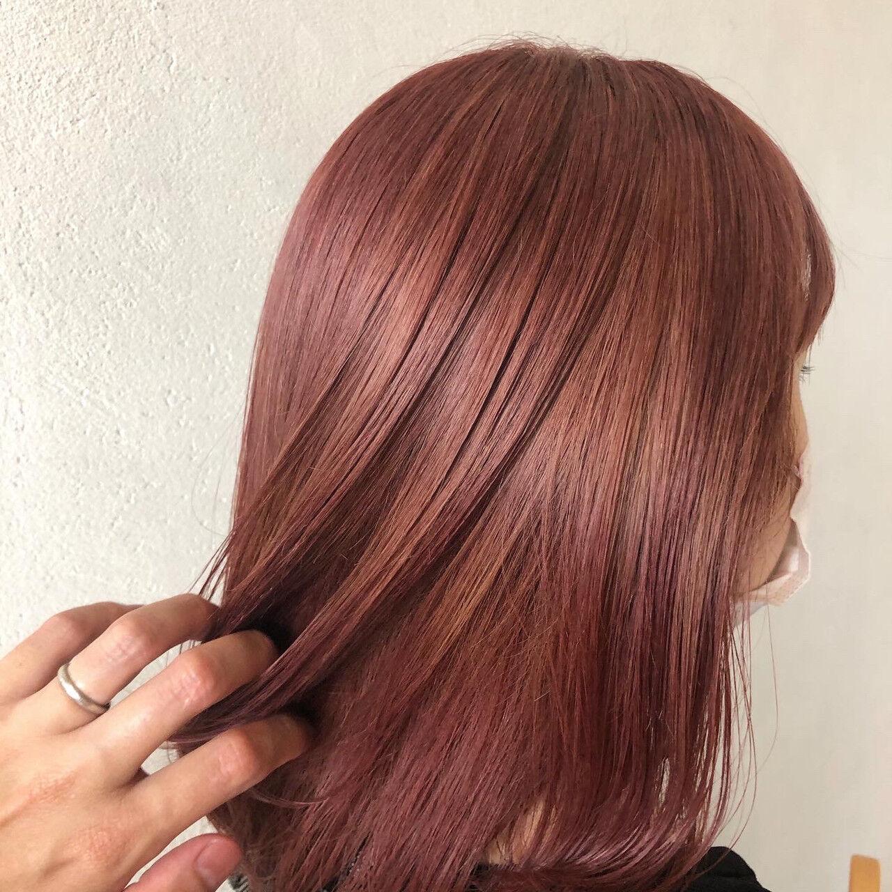 ピンクラベンダー ピンクベージュ ガーリー ピンクブラウンヘアスタイルや髪型の写真・画像