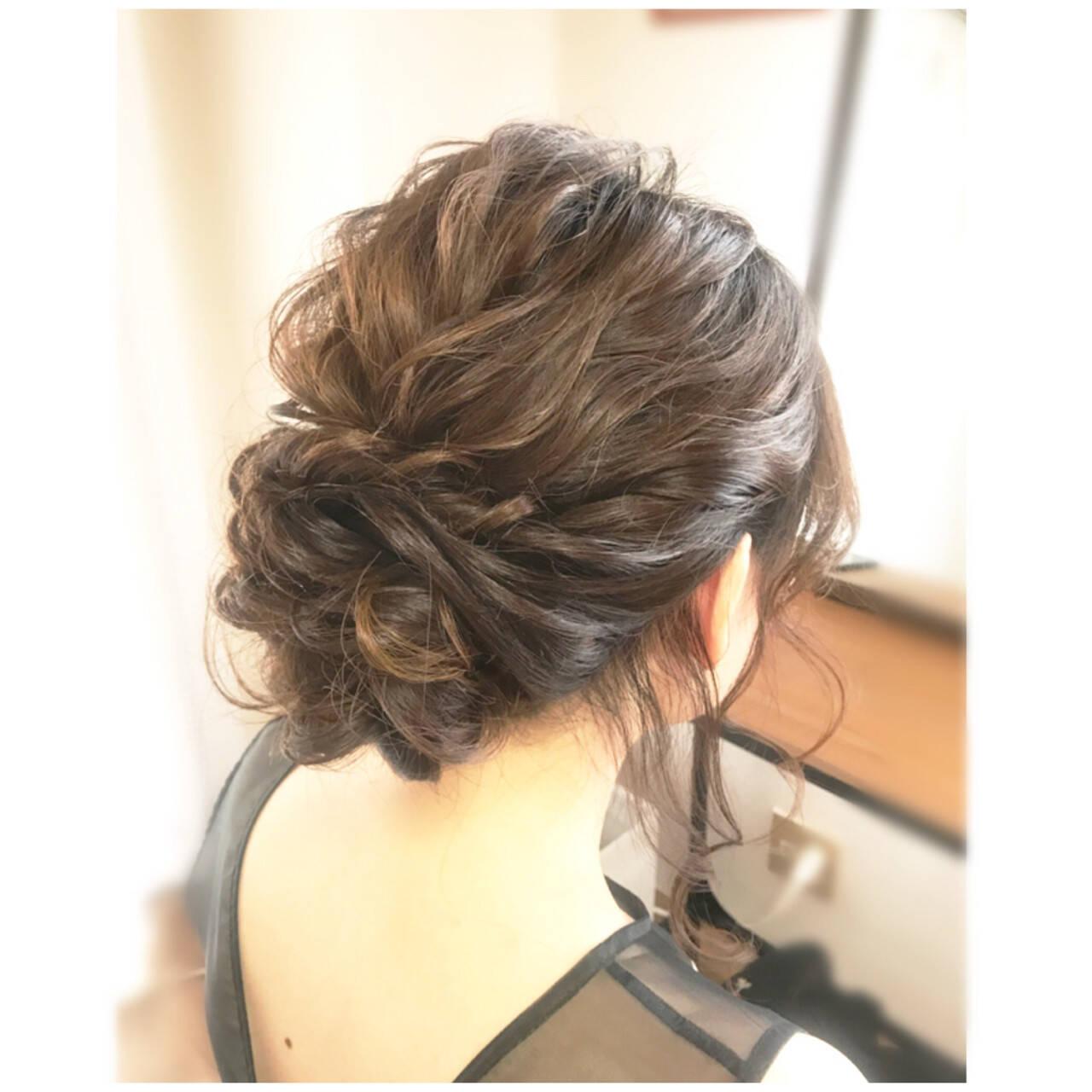 フェミニン パーティ 結婚式 ミディアムヘアスタイルや髪型の写真・画像