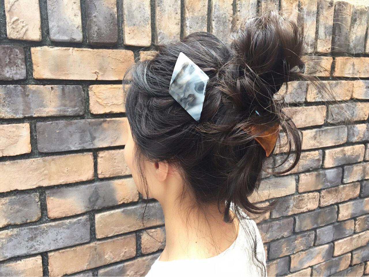 ヘアアレンジ 外国人風 簡単ヘアアレンジ ミディアムヘアスタイルや髪型の写真・画像