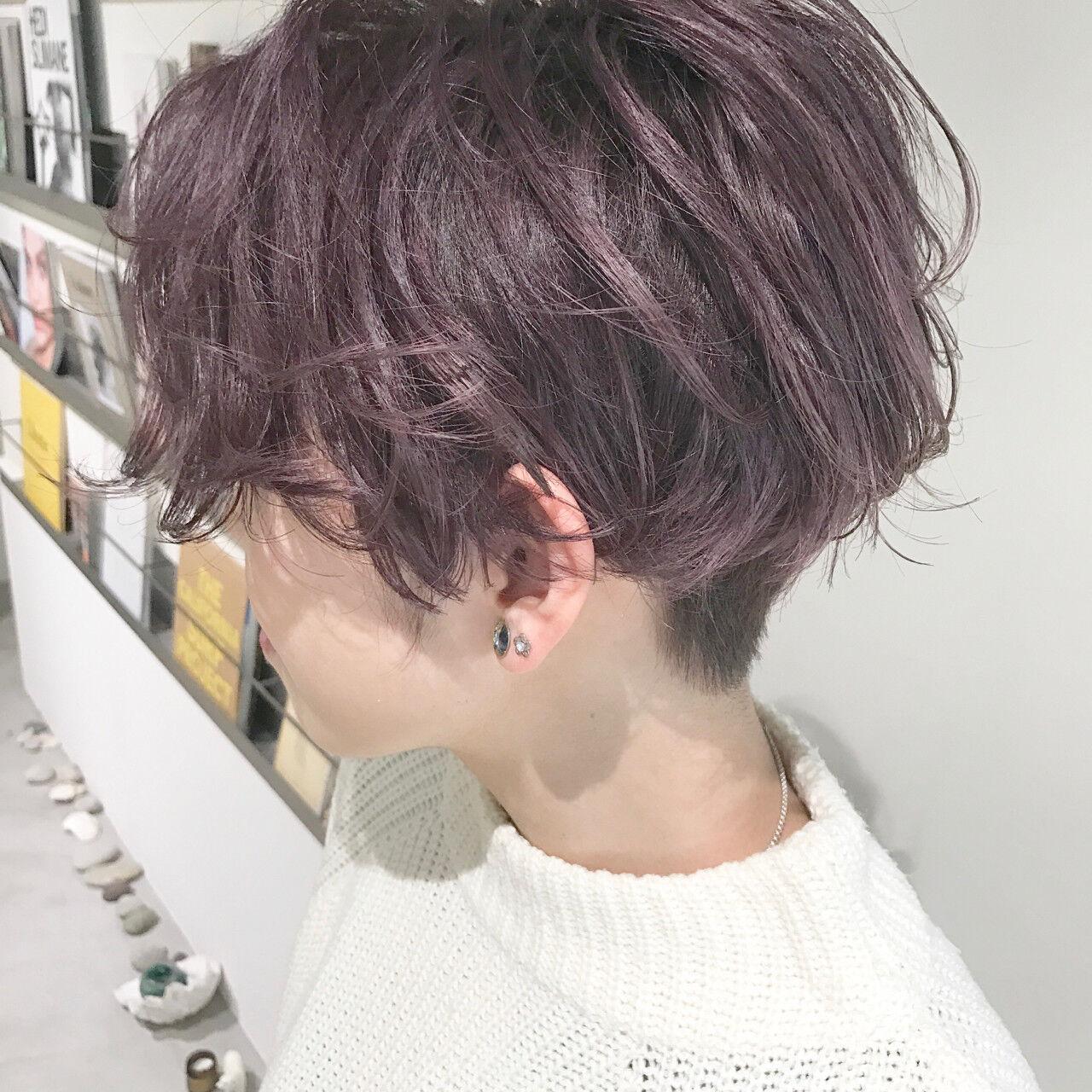 グレージュ ラベンダー ショートボブ ショートヘアスタイルや髪型の写真・画像
