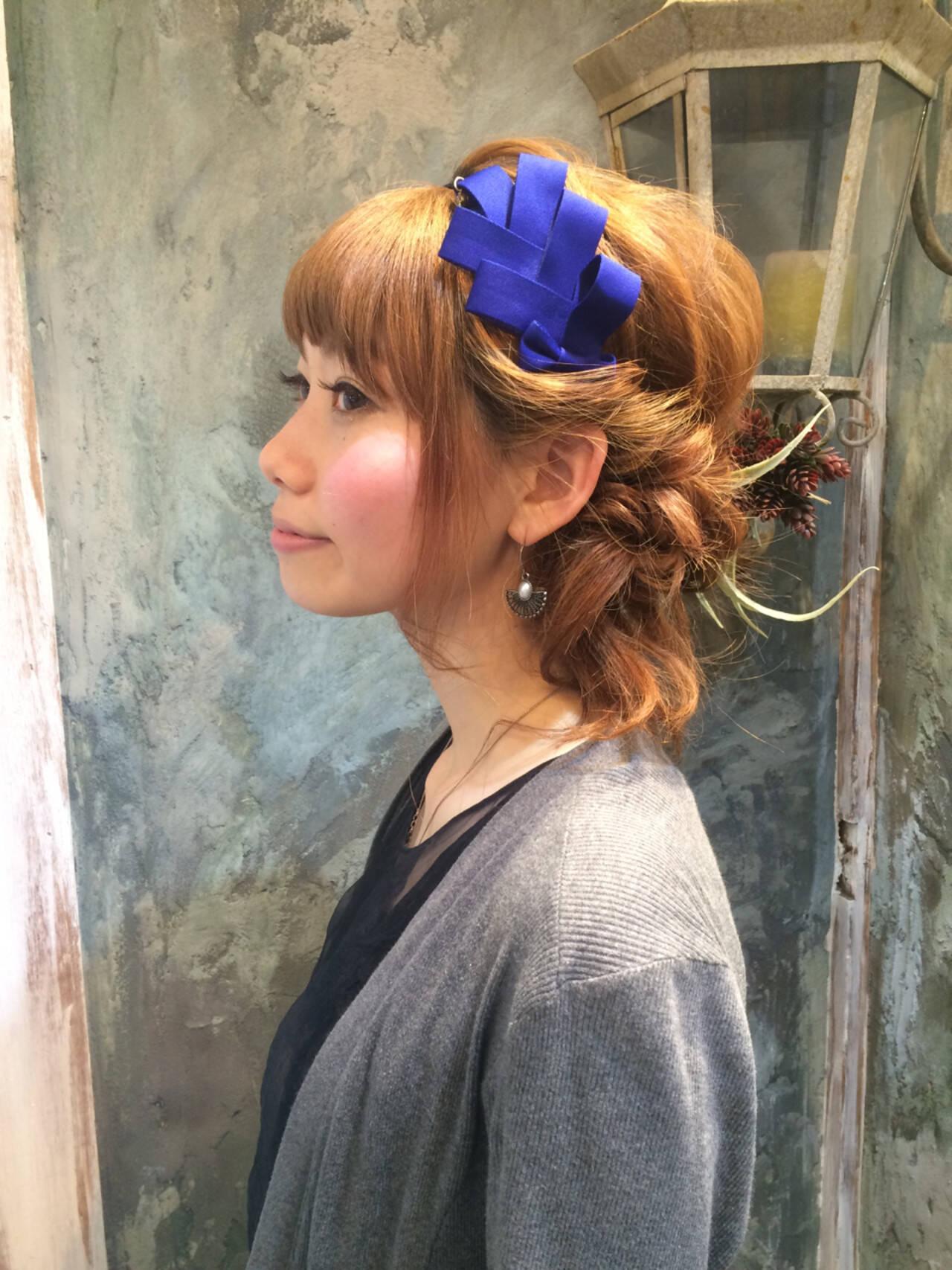 ハーフアップ 大人かわいい ヘアアレンジ ショートヘアスタイルや髪型の写真・画像