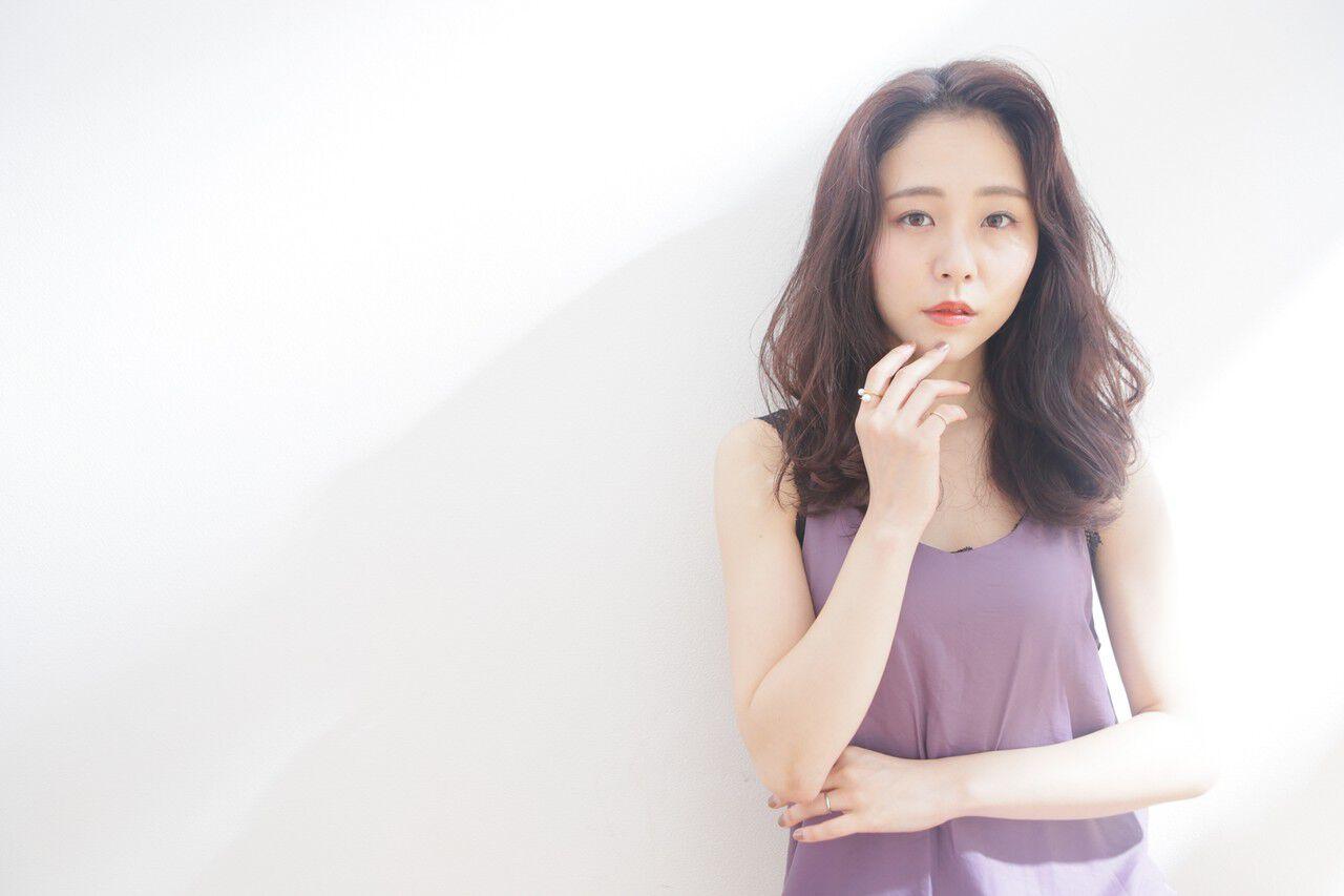 韓国ヘア セミロング 韓国 韓国風ヘアーヘアスタイルや髪型の写真・画像