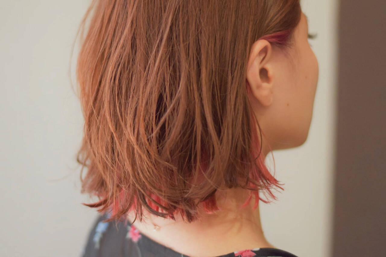 ボブ ミニボブ ナチュラル インナーカラーヘアスタイルや髪型の写真・画像