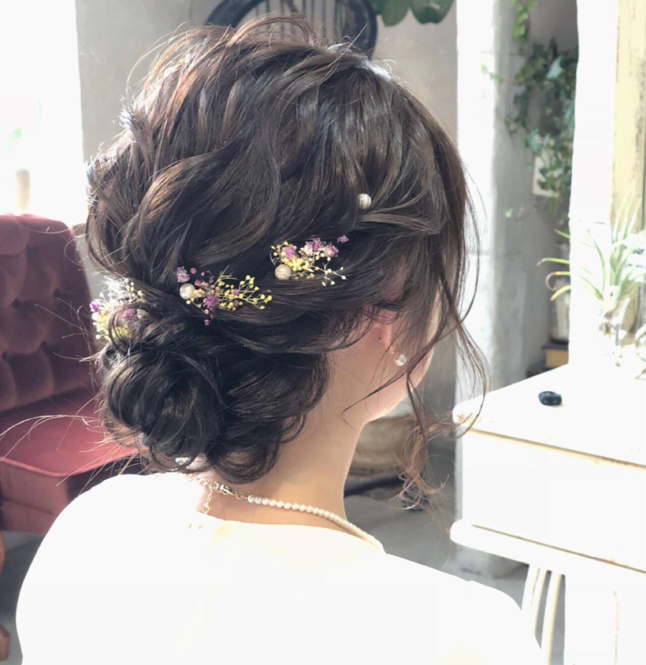 結婚式 ナチュラル シニヨン 成人式ヘアスタイルや髪型の写真・画像