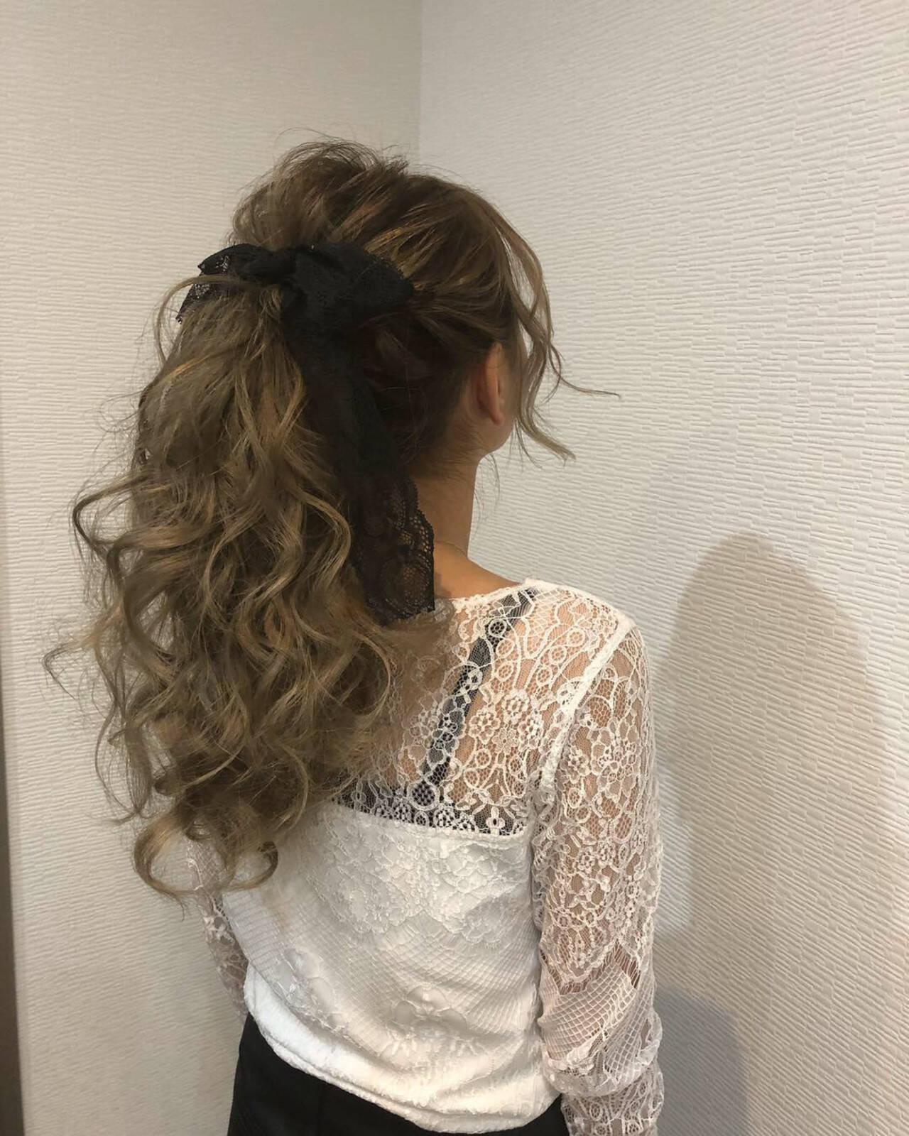 ロング ガーリー アップスタイル ポニーテールヘアスタイルや髪型の写真・画像