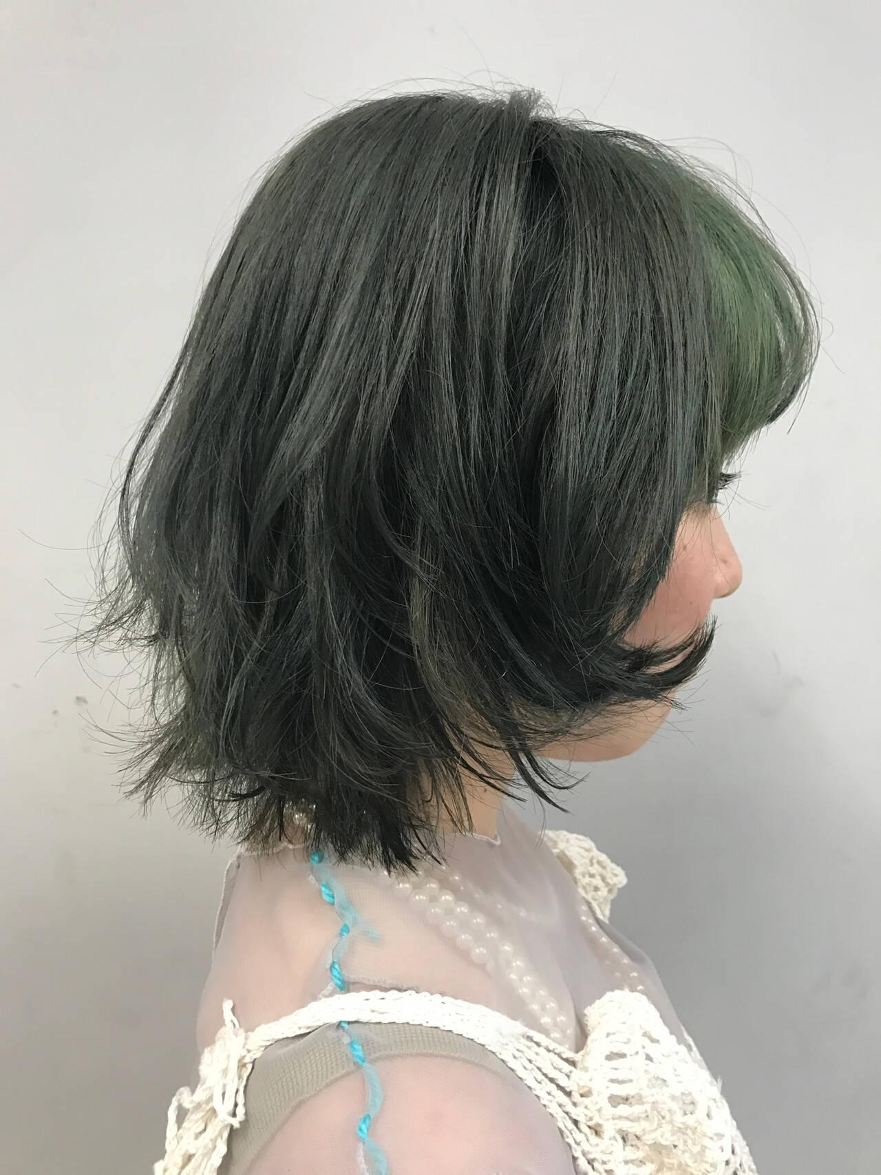 ボブ コントラストハイライト ハイライト ブリーチカラーヘアスタイルや髪型の写真・画像