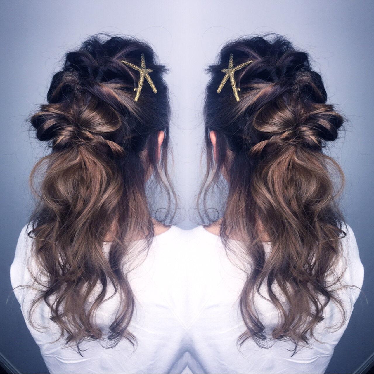 簡単ヘアアレンジ ハーフアップ ショート 大人女子ヘアスタイルや髪型の写真・画像