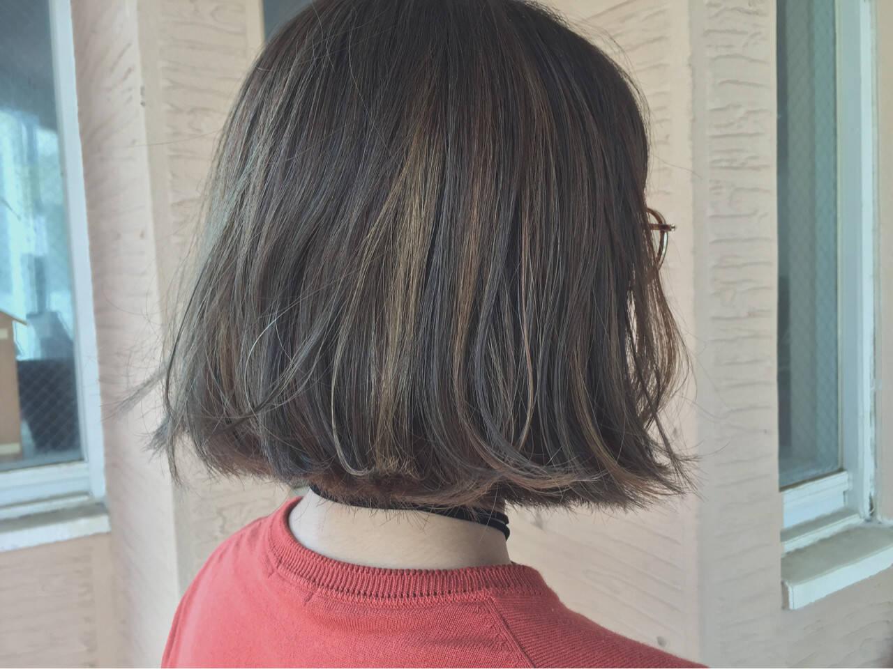 ハイライト 秋 外国人風 ボブヘアスタイルや髪型の写真・画像