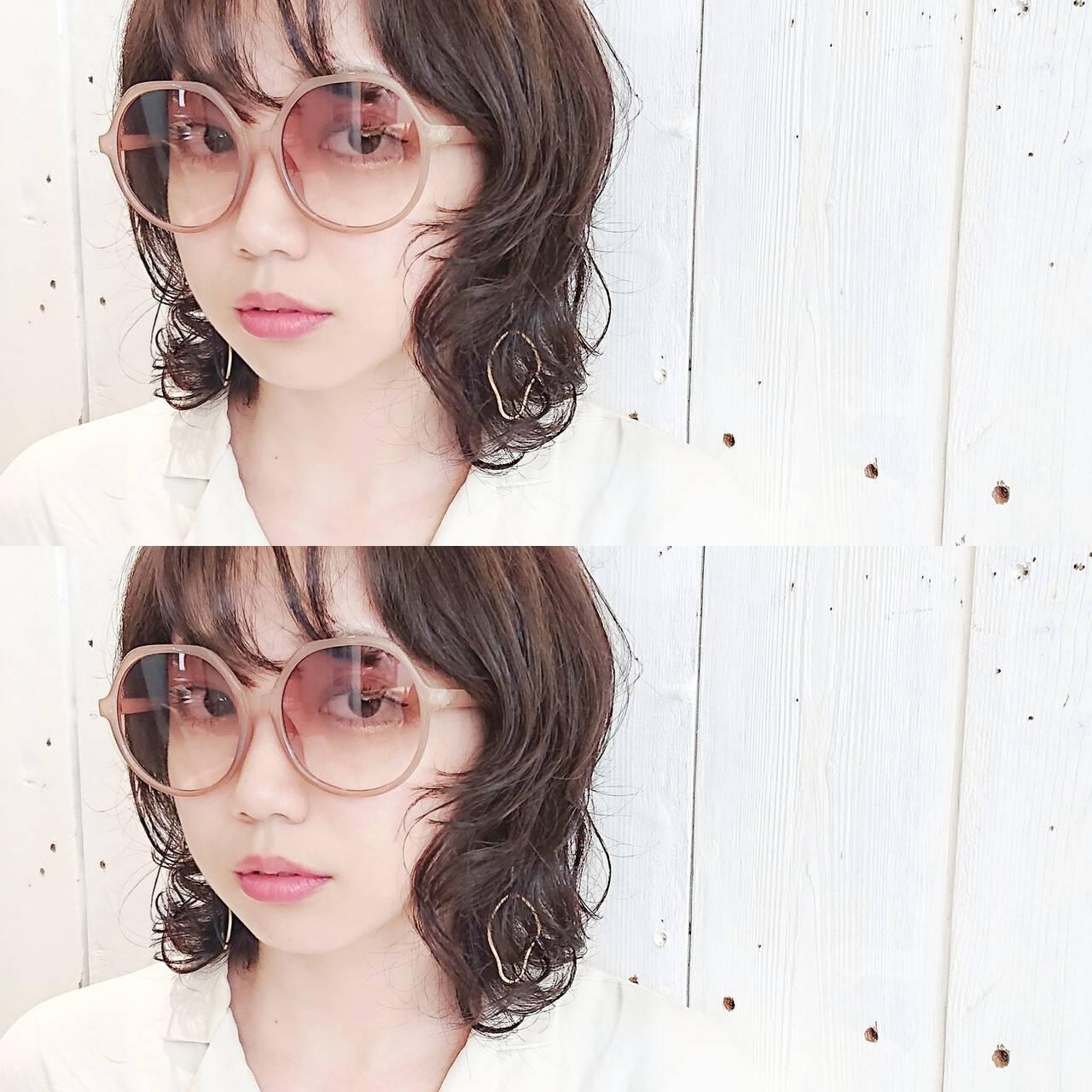 ミディアム マッシュ モード パーマヘアスタイルや髪型の写真・画像