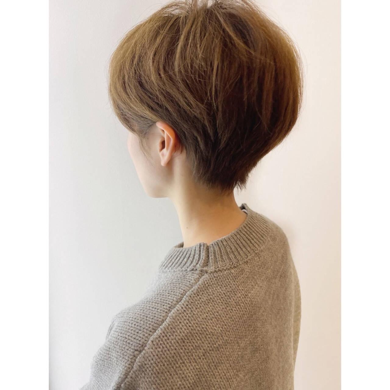 ショートヘア 大人かわいい ショートボブ ナチュラルヘアスタイルや髪型の写真・画像
