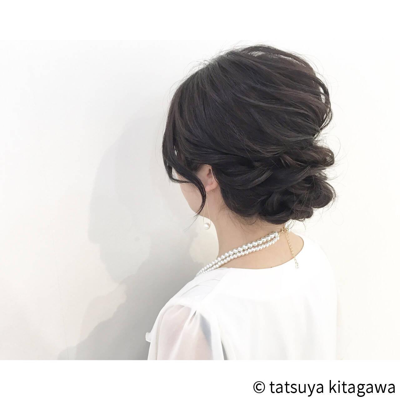 結婚式 ミディアム ゆるふわ ヘアアレンジヘアスタイルや髪型の写真・画像