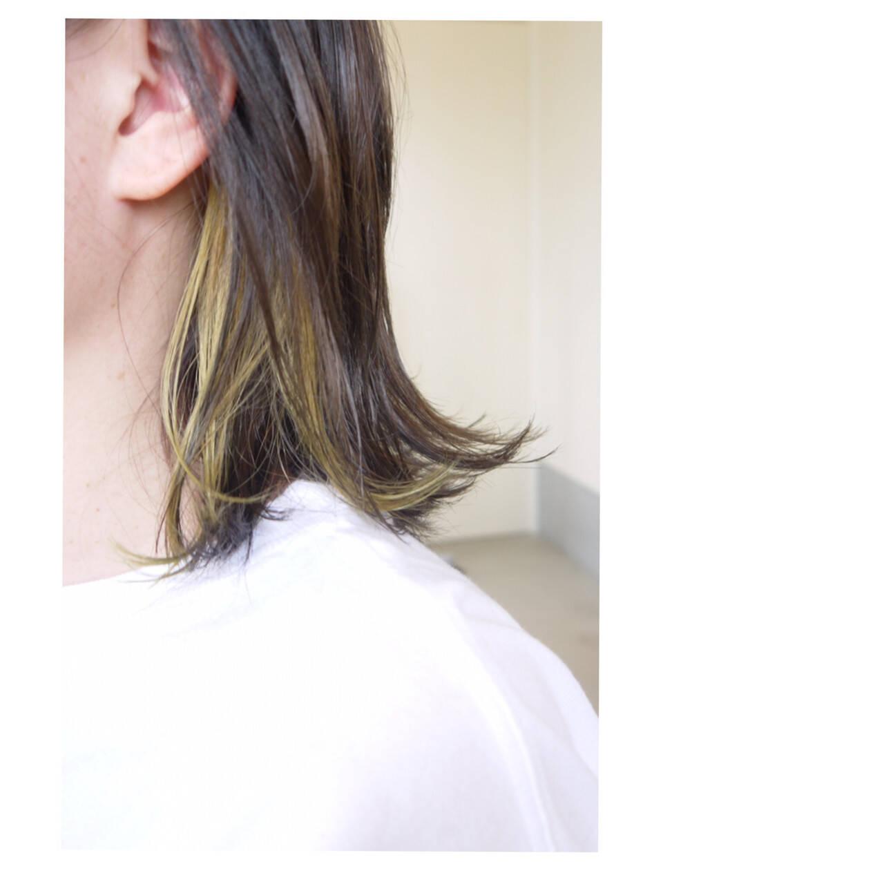ナチュラル ボブ ダブルカラー インナーカラーヘアスタイルや髪型の写真・画像