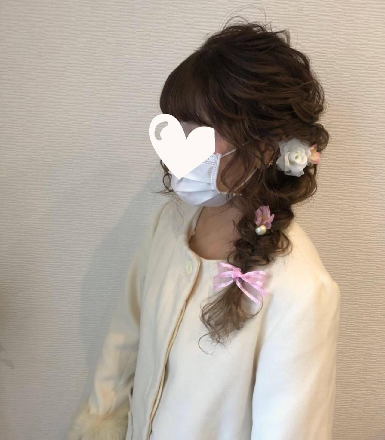 ロング ヘアアレンジ 編み込みヘア 成人式ヘアヘアスタイルや髪型の写真・画像