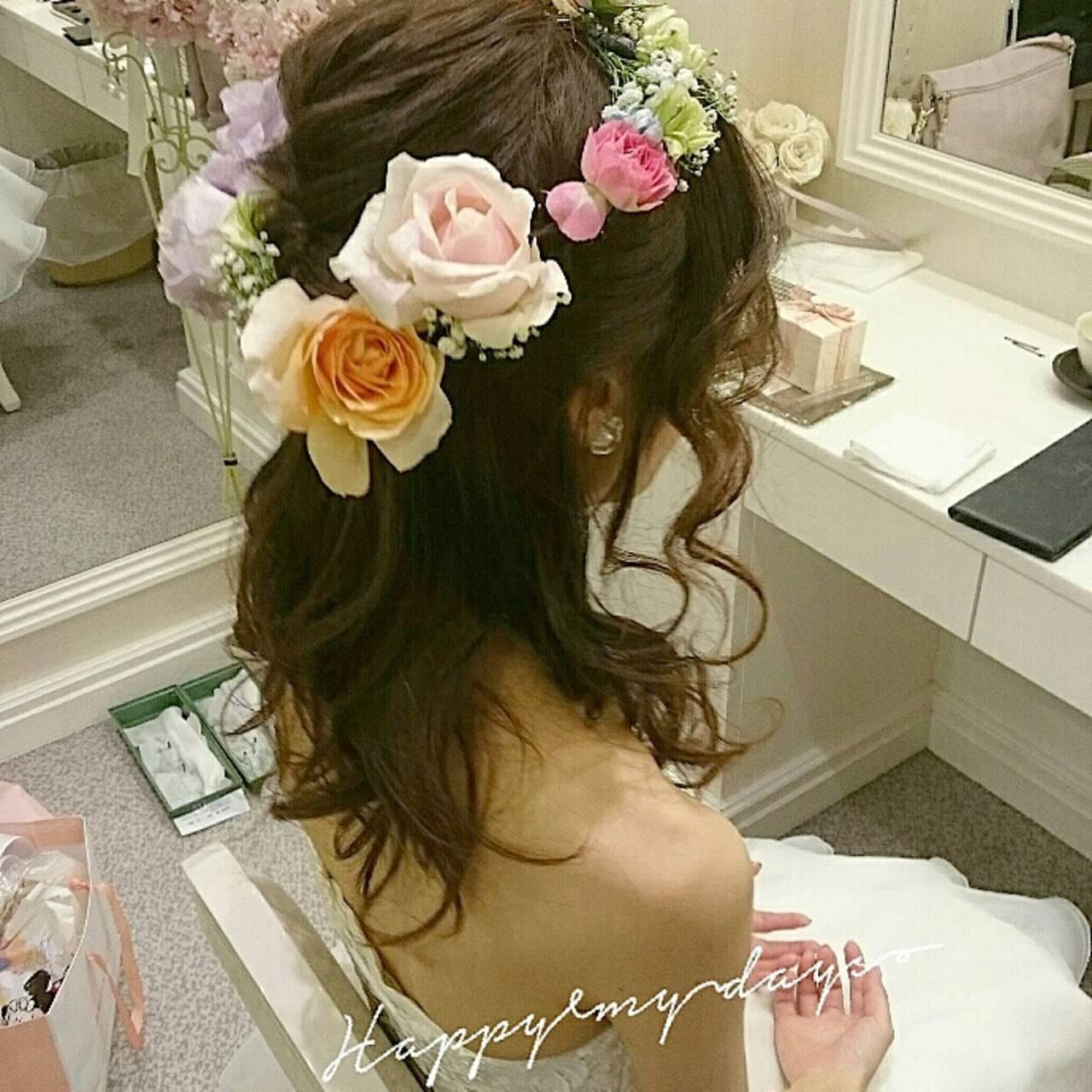 ヘアアレンジ ハーフアップ ブライダル ゆるふわヘアスタイルや髪型の写真・画像