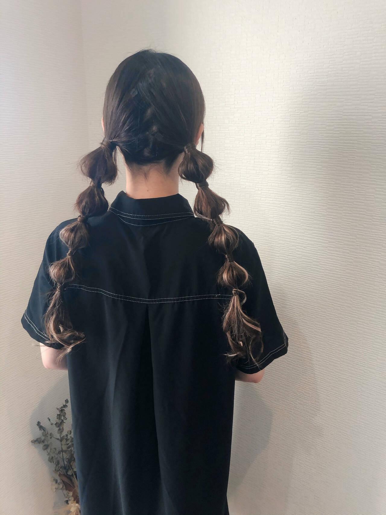 ヘアセット ツインテール フェミニン 玉ねぎヘアスタイルや髪型の写真・画像