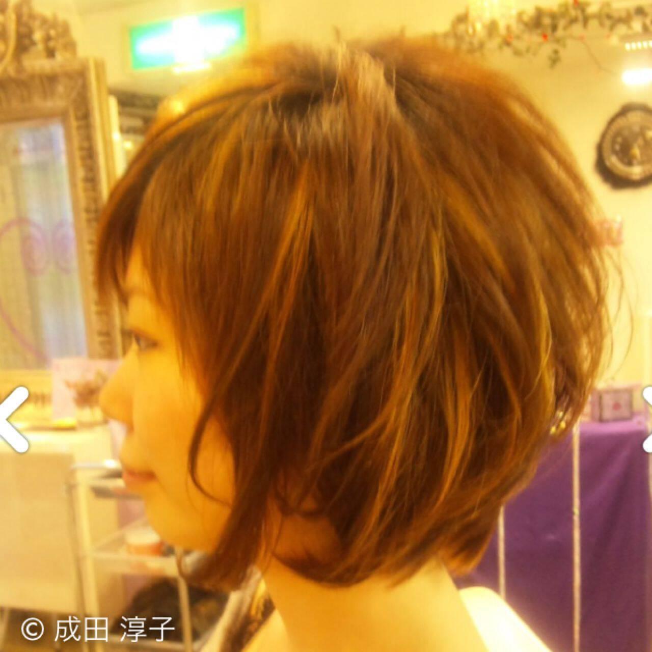 モテ髪 丸顔 ボブ ガーリーヘアスタイルや髪型の写真・画像