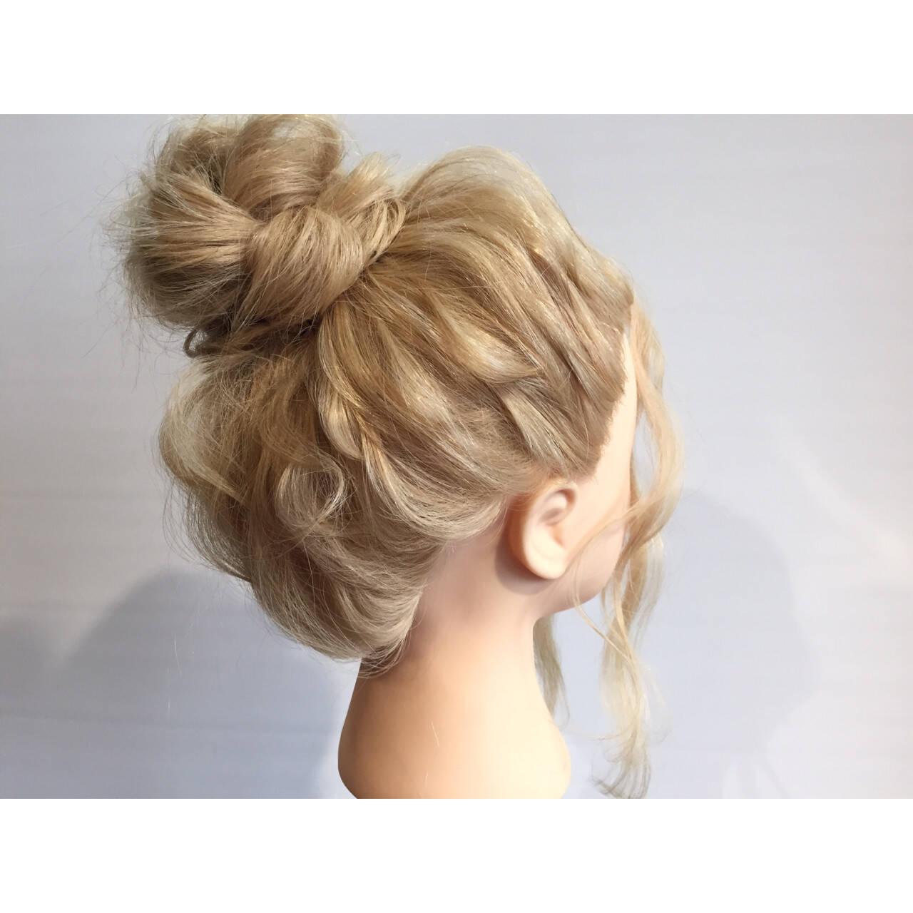 ヘアアレンジ 簡単ヘアアレンジ 三つ編み セミロングヘアスタイルや髪型の写真・画像