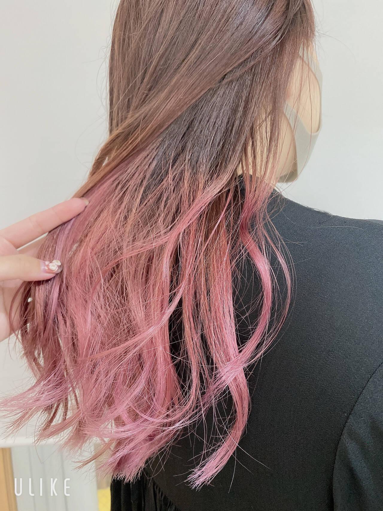 ピンク くすみカラー 透明感カラー グラデーションカラーヘアスタイルや髪型の写真・画像