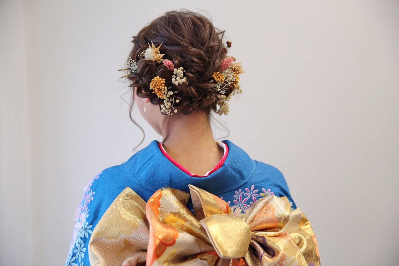 ロング 成人式 ドライフラワー ヘアアレンジヘアスタイルや髪型の写真・画像