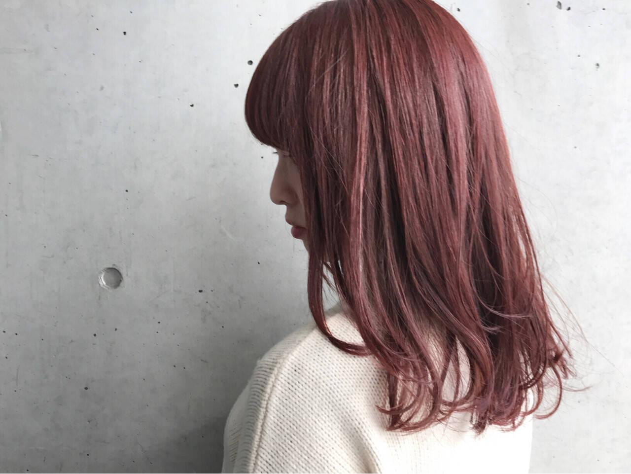 ロブ 艶髪 ピンク ワンカールヘアスタイルや髪型の写真・画像