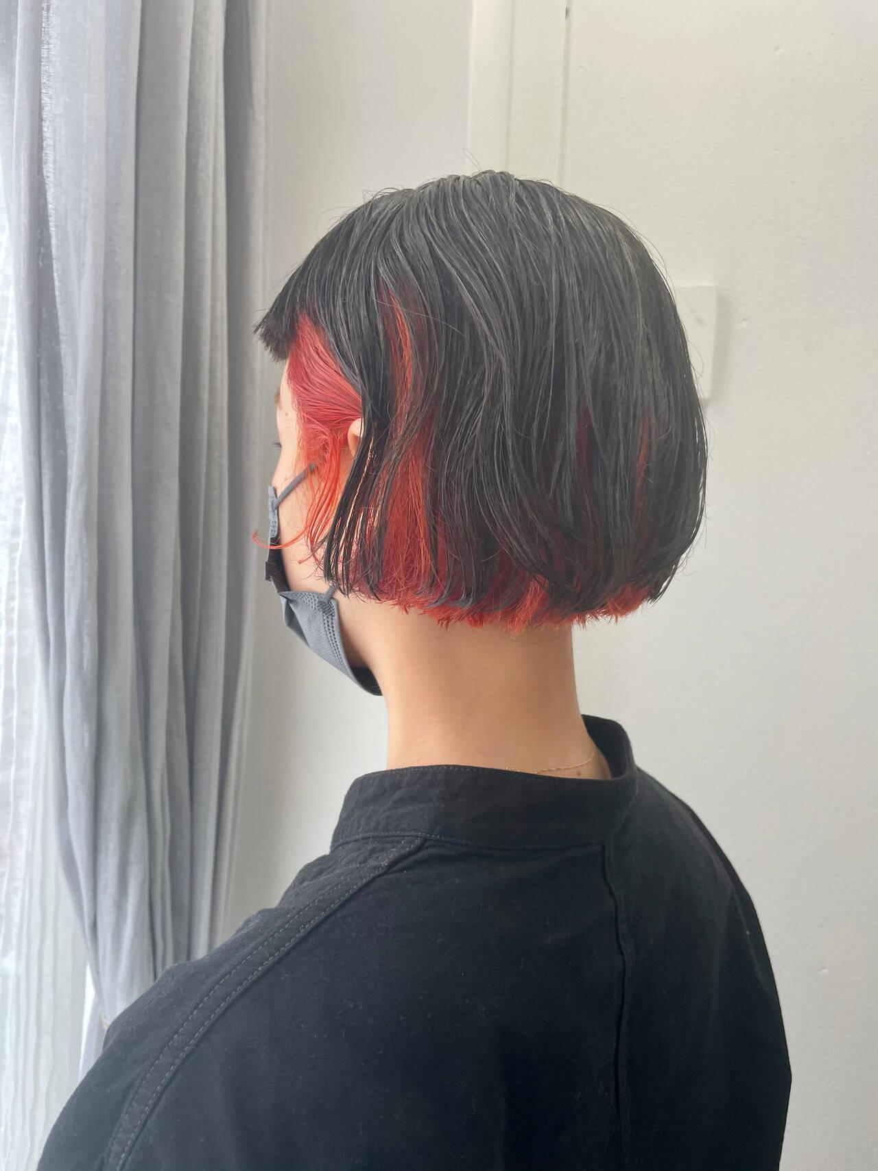 オレンジ ボブ ヘアカラー 外国人風カラーヘアスタイルや髪型の写真・画像