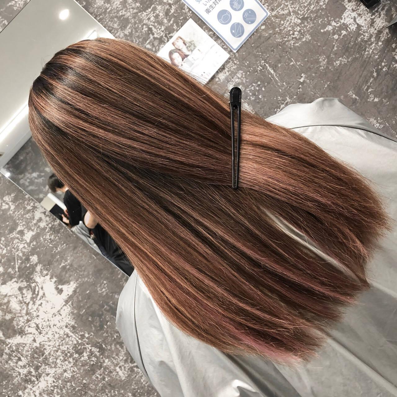 外国人風カラー ストリート ピンクベージュ ハイライトヘアスタイルや髪型の写真・画像