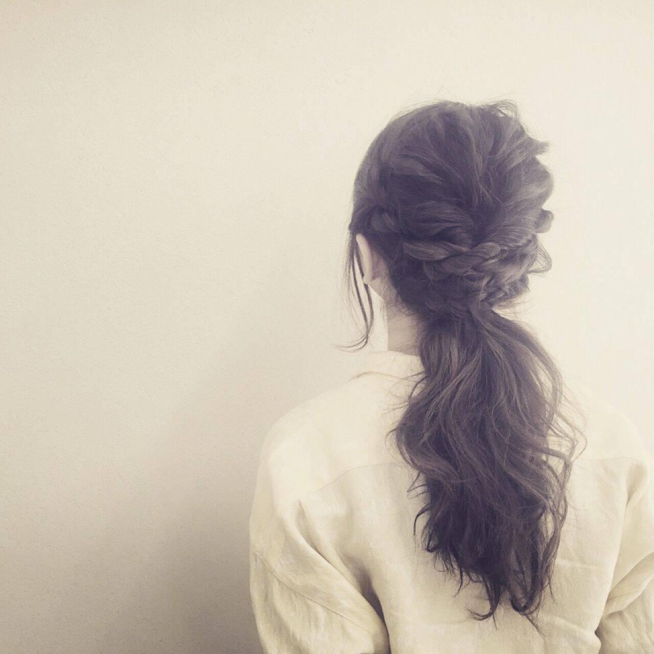 原宿系 ナチュラル 編み込み ヘアアレンジヘアスタイルや髪型の写真・画像