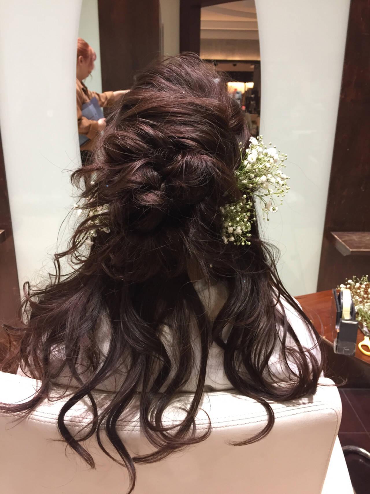 ナチュラル ヘアアレンジ 花 セミロングヘアスタイルや髪型の写真・画像