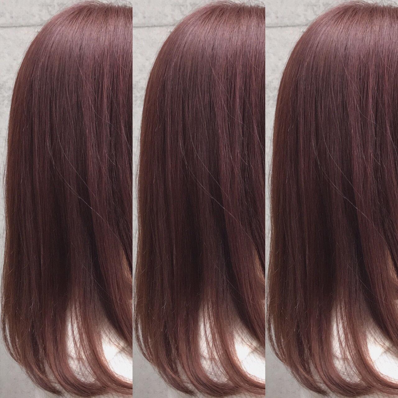 ピンクカラー ガーリー ピンクバイオレット ラズベリーピンクヘアスタイルや髪型の写真・画像