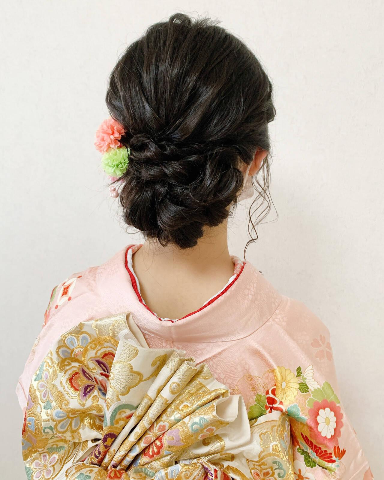 振袖 着物 成人式ヘア セミロングヘアスタイルや髪型の写真・画像