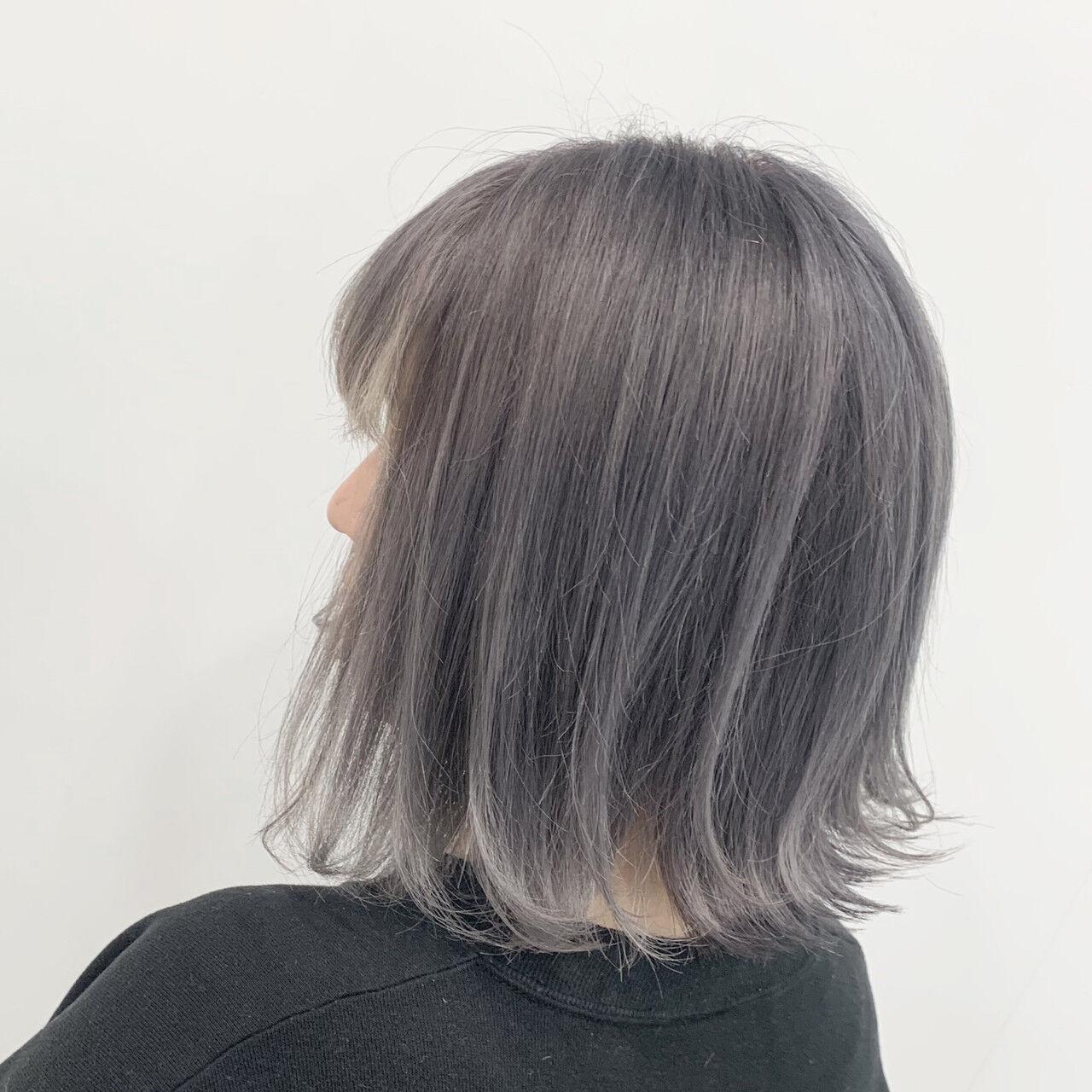 ブリーチ ハイトーン N.オイル 切りっぱなしボブヘアスタイルや髪型の写真・画像