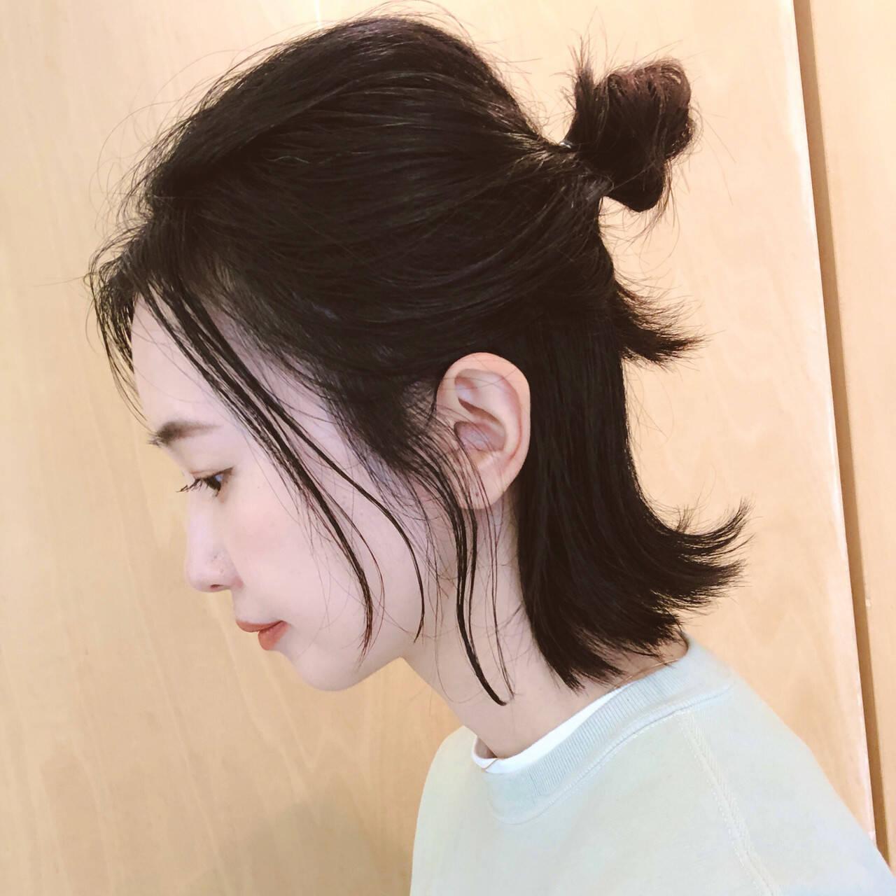 お団子アレンジ ボブ ストリート セルフアレンジヘアスタイルや髪型の写真・画像
