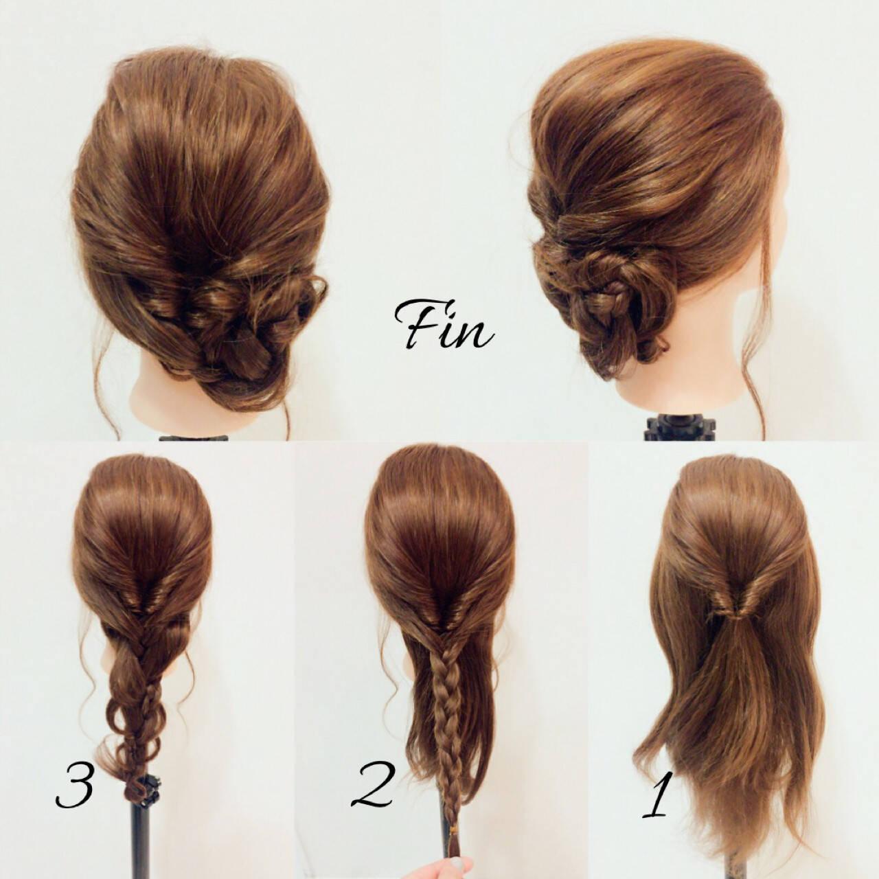 フェミニン ヘアアレンジ ミディアム 春ヘアスタイルや髪型の写真・画像
