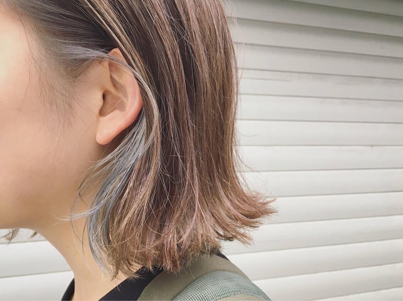 インナーカラー 透明感 ナチュラル 外ハネヘアスタイルや髪型の写真・画像