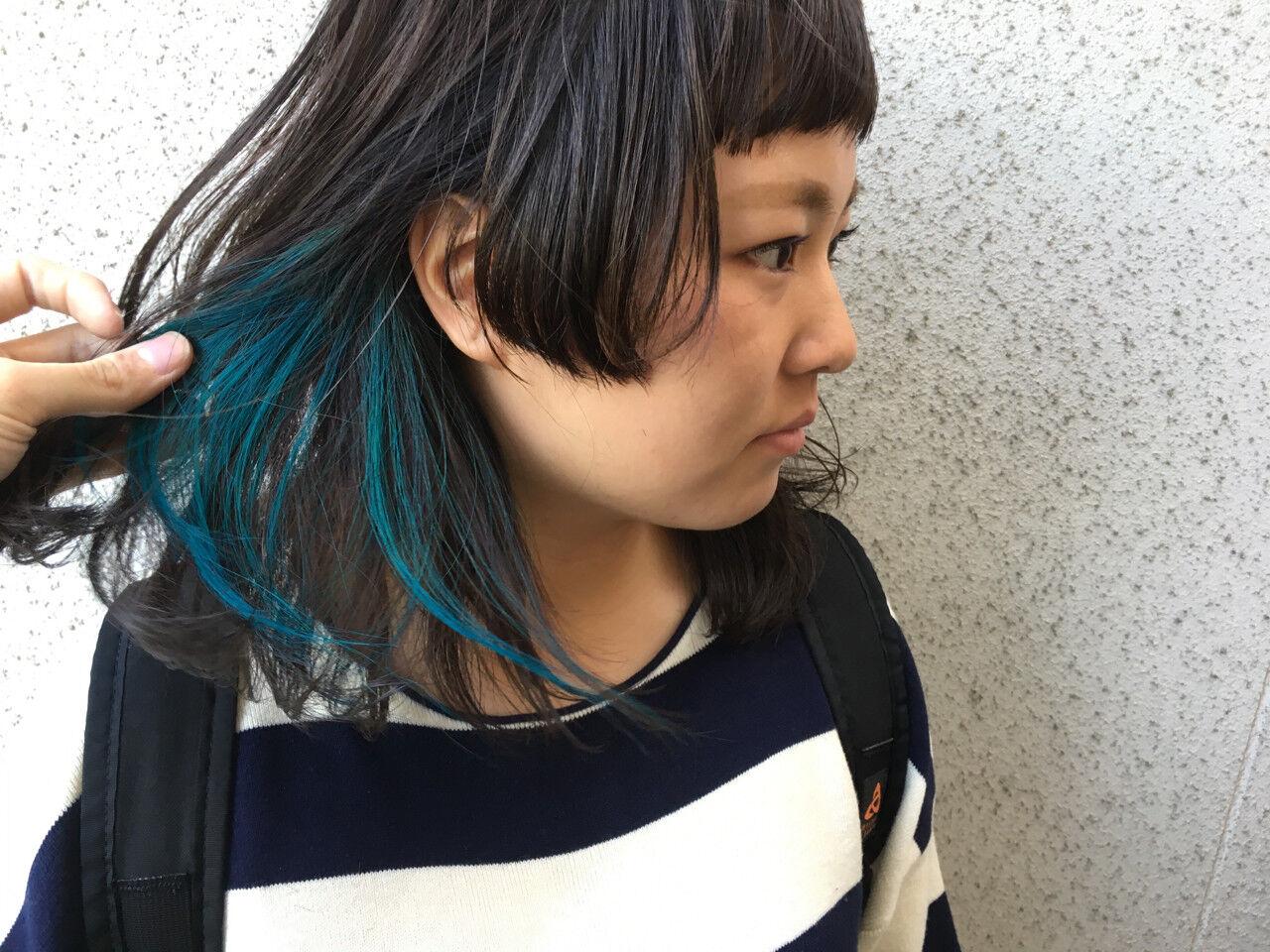 ミディアム ストリート 黒髪 暗髪ヘアスタイルや髪型の写真・画像