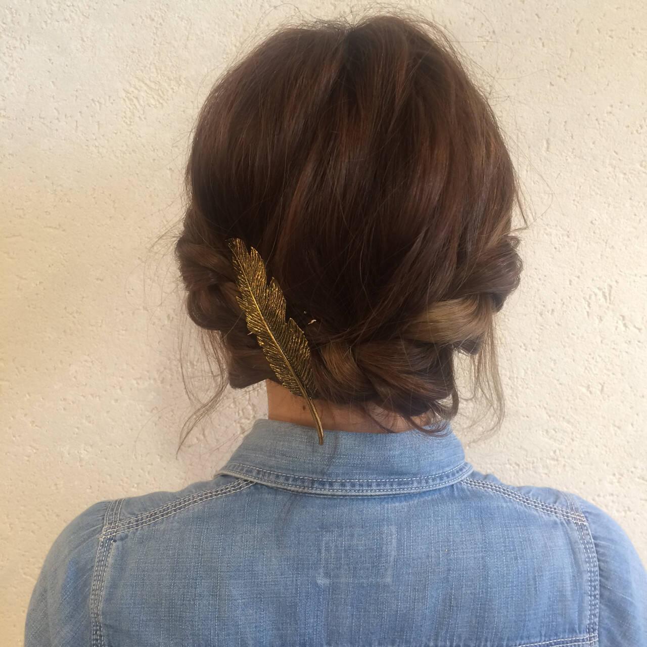 ショート ヘアアレンジ ミディアム 簡単ヘアアレンジヘアスタイルや髪型の写真・画像