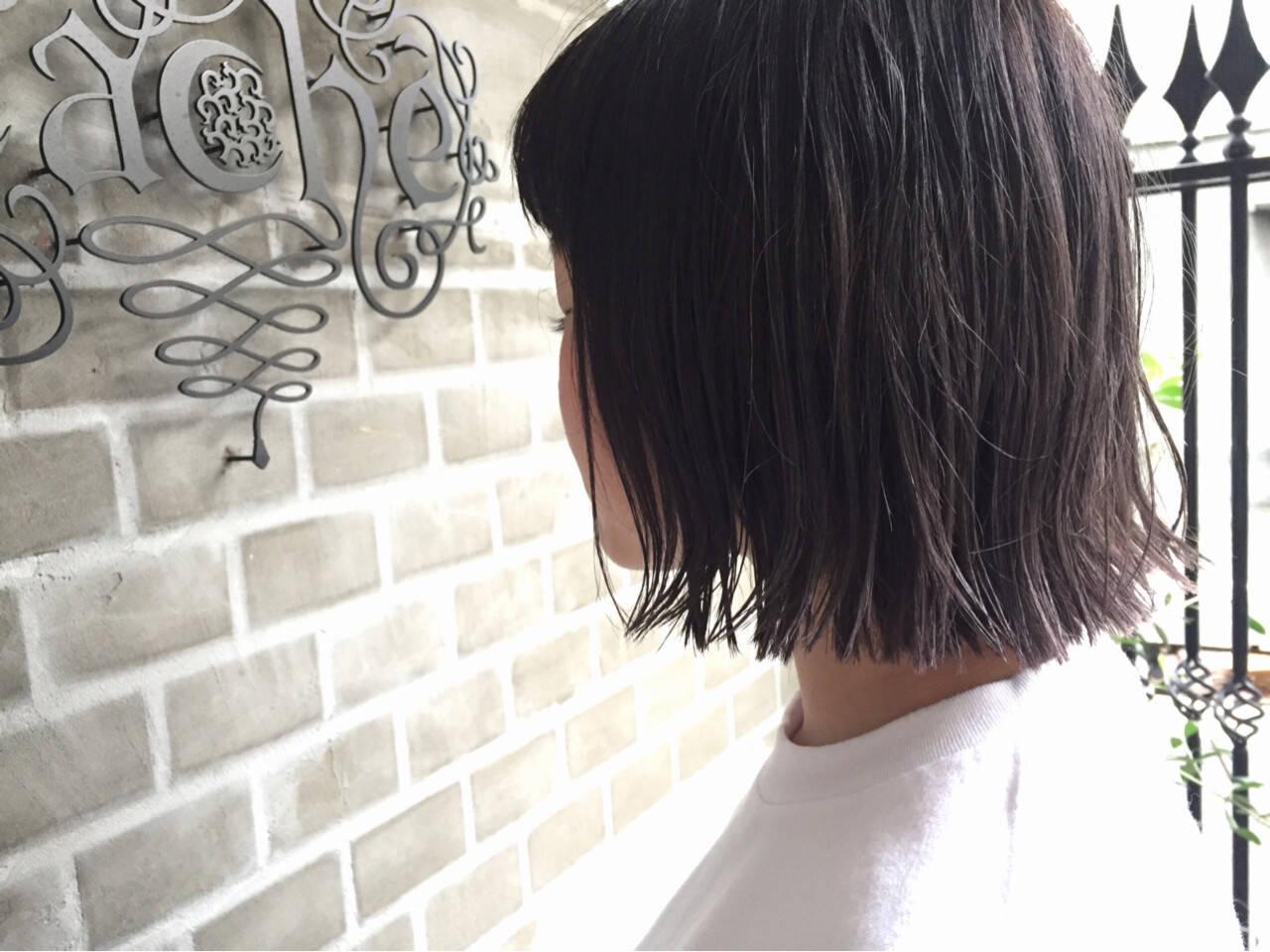 暗髪 外ハネ グラデーションカラー ボブヘアスタイルや髪型の写真・画像