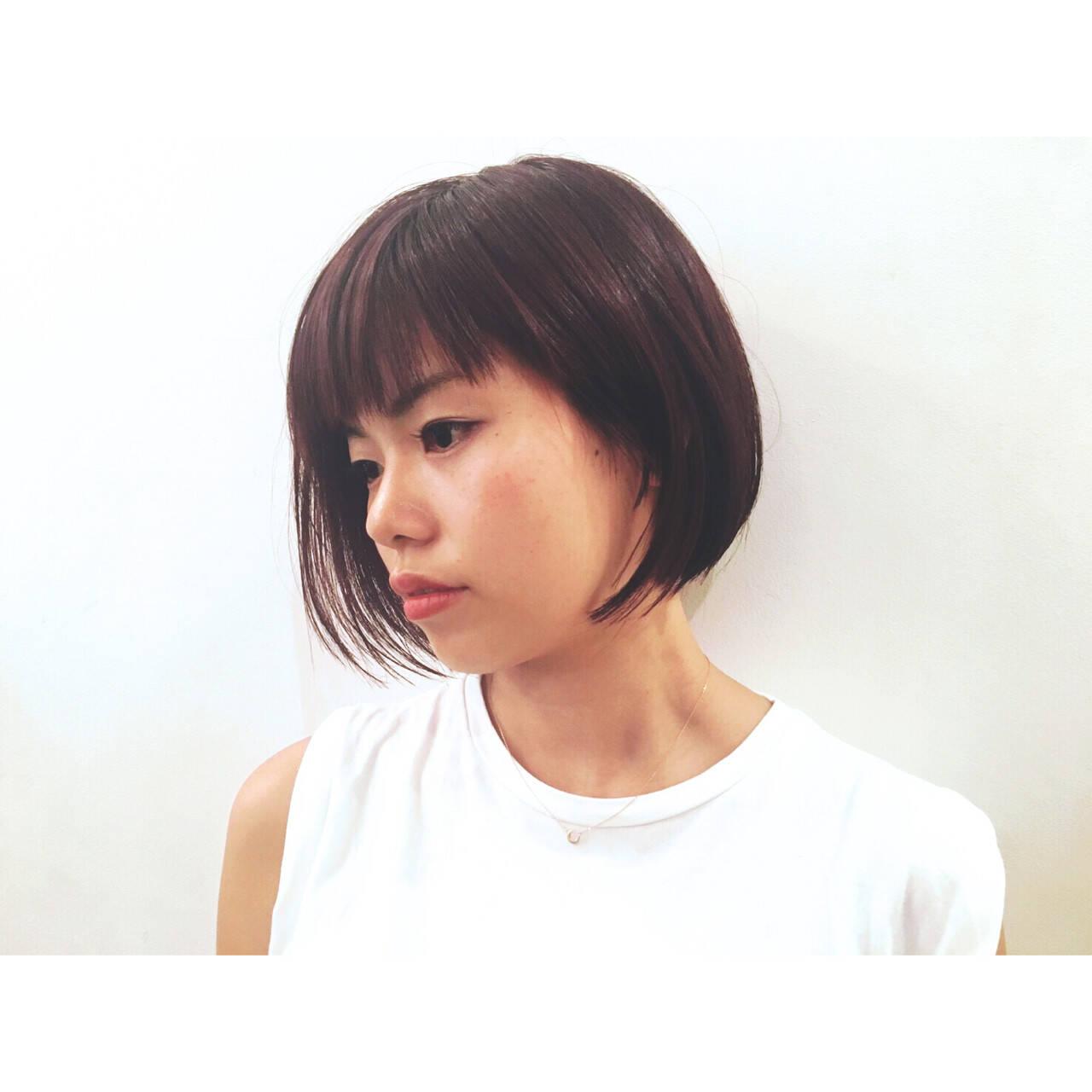 アシメバング ボブ モード ショートヘアスタイルや髪型の写真・画像