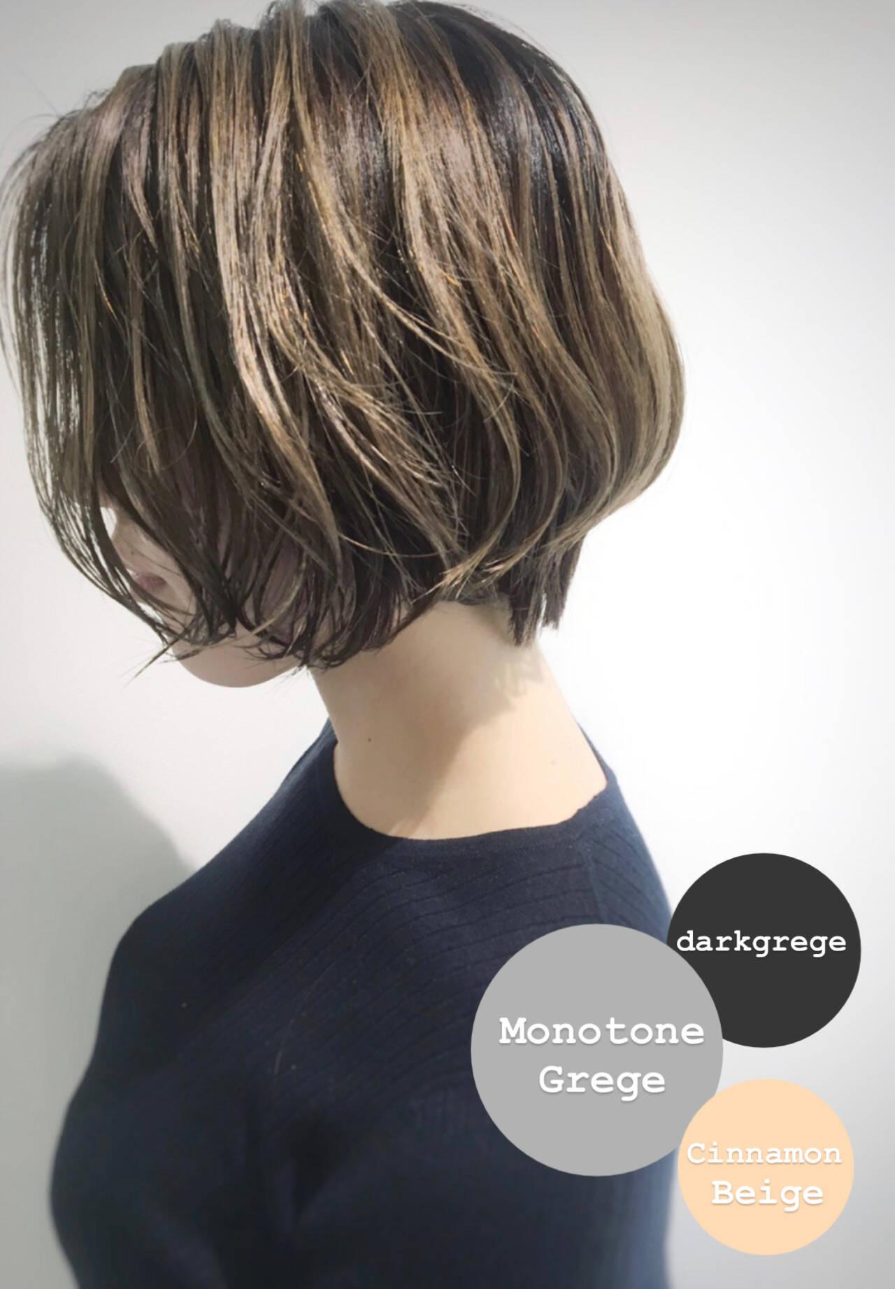 大人ハイライト イルミナカラー モード ボブヘアスタイルや髪型の写真・画像